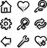 Herramientas del contorno de la etiqueta de plástico de los iconos del Web del vector Fotografía de archivo libre de regalías