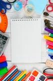 Herramientas del cuaderno y de la escuela Fotografía de archivo libre de regalías