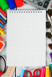 Herramientas del cuaderno y de la escuela Imágenes de archivo libres de regalías