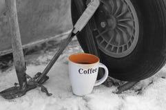 Herramientas del descanso para tomar café y del trabajo imágenes de archivo libres de regalías