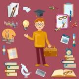 Herramientas del estudiante y de la escuela de la educación de nuevo a escuela Imagen de archivo libre de regalías