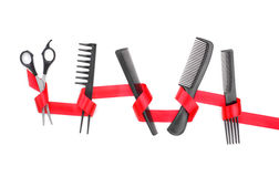 Herramientas del peluquero con la cinta del regalo Imagen de archivo