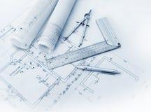 Herramientas del plan de la construcción Fotos de archivo
