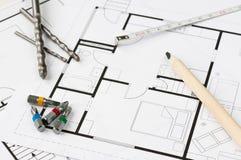 Herramientas del plan de la construcción Fotografía de archivo libre de regalías