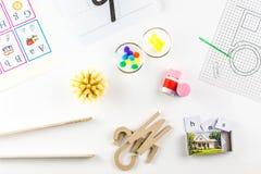 Herramientas del preescolar de Montessori Imágenes de archivo libres de regalías