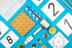 Herramientas del preescolar de Montessori foto de archivo