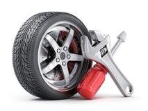 Herramientas del símbolo del coche y de la reparación de la rueda Fotografía de archivo libre de regalías