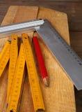 Herramientas del `s del carpintero Foto de archivo libre de regalías