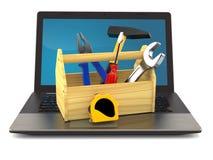 Herramientas del trabajo con el ordenador portátil stock de ilustración