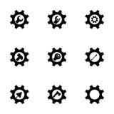 Herramientas del vector en sistema del icono del engranaje Imagen de archivo libre de regalías
