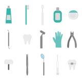 Herramientas dentales aisladas del logotipo Dentista Care y tratamiento médico Sistema de la estomatología Fotografía de archivo