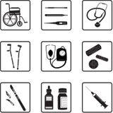 Herramientas e iconos médicos stock de ilustración