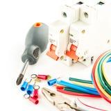 Herramientas eléctricas en el fondo blanco Fotos de archivo libres de regalías