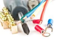 Herramientas eléctricas en el fondo blanco Fotografía de archivo