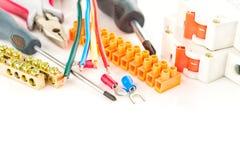 Herramientas eléctricas en el fondo blanco Fotografía de archivo libre de regalías