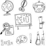 Herramientas en el schoool en garabato Imagen de archivo libre de regalías