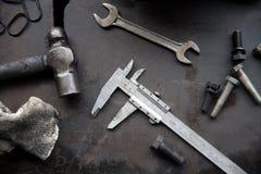 Herramientas en sitio de la maquinaria pesada Foto de archivo libre de regalías