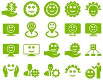 Herramientas, engranajes, sonrisas, iconos de los marcadores del mapa Imagen de archivo libre de regalías