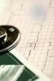 Herramientas médicas y datos de la encuesta sobre el doctor de la tabla Fotos de archivo libres de regalías