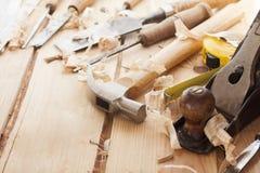 Herramientas del carpintero Imágenes de archivo libres de regalías