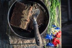 Herramientas oxidadas para la apicultura con los panales, los sombreros y la miel imagen de archivo