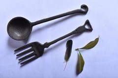 Herramientas para comer en épocas antiguas foto de archivo libre de regalías