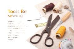 Herramientas para coser con el espacio para el texto Imagen de archivo libre de regalías
