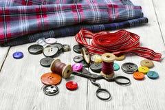 Herramientas para coser y la costura Fotografía de archivo libre de regalías