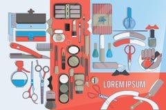 Herramientas para el cuidado de la belleza Diseño plano Imágenes de archivo libres de regalías