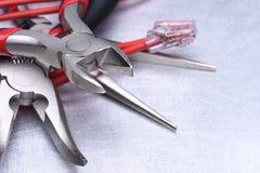 Herramientas para el electricista y los cables Foto de archivo libre de regalías
