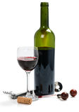 Herramientas para el vino y el vino rojo Fotografía de archivo