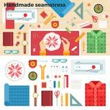 Herramientas para hecho a mano costurera E Foto de archivo libre de regalías
