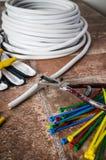 Herramientas para la instalación eléctrica, primer foto de archivo libre de regalías