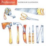 Herramientas pintadas a mano de la carpintería del sistema Profesión, ejemplo de la afición La acuarela vio, roulette, cuchillo,  libre illustration