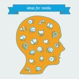 Herramientas populares de los iconos para los encargados y los analistas del negocio Foto de archivo libre de regalías