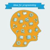 Herramientas populares de los iconos para los programadores Imagen de archivo libre de regalías