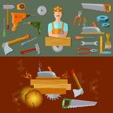 Herramientas profesionales del carpintero del espacio de trabajo Foto de archivo