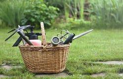 Herramientas que cultivan un huerto en una cesta Imagen de archivo
