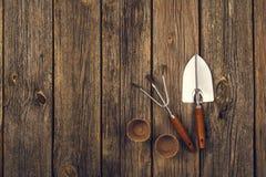 Herramientas que cultivan un huerto y accesorios en fondo de madera Visión superior Imagen de archivo