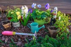 Herramientas que cultivan un huerto y flores al aire libre Fotos de archivo libres de regalías