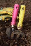 Herramientas que cultivan un huerto y guantes con suciedad en el suelo. foto de archivo libre de regalías