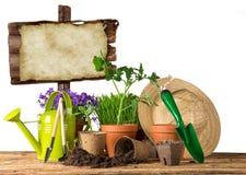 Herramientas que cultivan un huerto y plantas al aire libre Foto de archivo