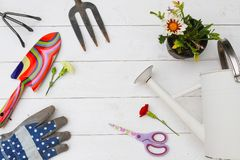 Herramientas que cultivan un huerto y utensilios imagen de archivo