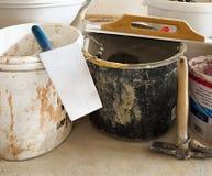 Herramientas simples del albañil Foto de archivo libre de regalías