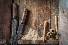 Herramientas tradicionales del carpintero Foto de archivo libre de regalías