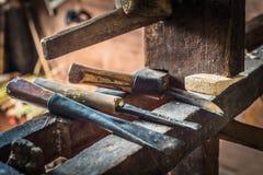 Herramientas tradicionales del carpintero Imágenes de archivo libres de regalías
