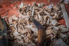 Herramientas tradicionales del carpintero Imagen de archivo libre de regalías