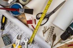 Herramientas usadas en mantenimiento del hogar Fotografía de archivo