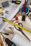 Herramientas usadas en mantenimiento del hogar Fotografía de archivo libre de regalías
