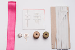 Herramientas y accesorios de costura fotografía de archivo